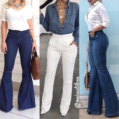 Image may contain: one or more people and people standing Stylish Summer Outfits, Chic Outfits, Fashion Outfits, Fashion Clothes, Flare Jeans Outfit, White Jeans Outfit, Work Fashion, Denim Fashion, Ladies Fashion