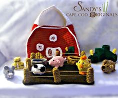 Child Safe Playset Crochet Pattern Barn Yard Set with Tractor Slippers PDF 625. $6.95, via Etsy.