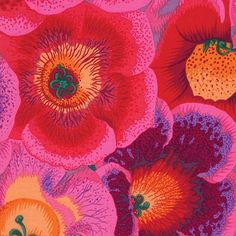 Kaffe Fassett Collective for FreeSpirit presents Gloxinias in Pink as part of the Kaffe Fassett Collective Stash collection by Philip Jacobs Pink Fabric, Fabric Art, Quilting Fabric, Westminster, Fabric Patterns, Print Patterns, Fun Patterns, Floral Patterns, Free Spirit Fabrics