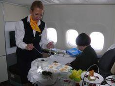 Boeing 747-8 Inaugural Lufthansa First Class Cabin in-flight