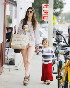Alessandra Ambrosio shops with Anja in brentwood, CA-March 16, 2013