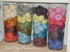 Oh You Crafty Gal: Best Ideals For Yarn and Knitting Supply Storage ideas for knitting storage Diy Yarn Storage Ideas, Yarn Organization, Craft Room Storage, Craft Rooms, Studio Organization, Knitting Room, Knitting Storage, Knitting Yarn, Easy Yarn Crafts