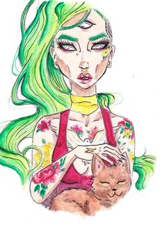 """Copy by Grew D'arcy :) I really like this """"my"""" drawing- If you like it too, follow me on instagram: @adele_tischler #drawing #tattoo #copy #czech #girl #cat"""