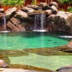Great green pool with waterfall