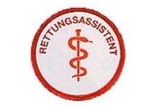 Abzeichen Gestickt Rettungsassistent Durchmesser Ca. 6 cm Untergrund weiß - Schriftfarbe Rot In der Mitte mit Äskulabstab - außen herum mit Schrift...