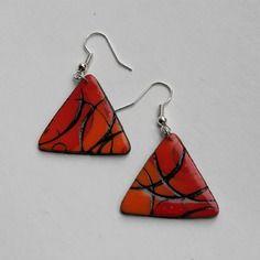 Boucles d'oreilles en pâte polymère triangle