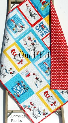 Cat In the Hat Quilt Kit, Toddler Wholecloth Cheater Panel, Red Plus Sign, Dr Seuss Blanket, Baby Project, Nursery Bedding, Beginner Simple by SunnysideFabrics