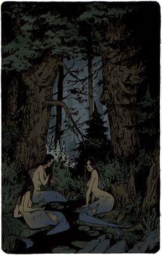 "Workshop - ""Fables of the northern forest"" Elena Kononenko. Dark Fantasy Art, Dark Art, Illustration Art, Illustrations, Arte Obscura, Alphonse Mucha, Wow Art, Psychedelic Art, Horror Art"