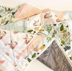 modern baby girl quiltcrib quiltbaby blanket handmade baby quilt for sale bunny mint peaches floral baby quilt for sale