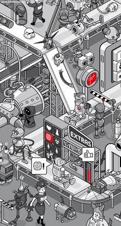 "This is an editorial illustration for Ferchau Engineering's magazine ""atFerchau"". It is about self organizing smart factories and the ""Internet of Things"". Layout by grafish.de, wimmelbild by me."