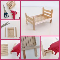 This video by Curious Crafter shows how to create 8 cute miniature dollhouse furniture pieces using popsicle sticks Doll House Crafts, Diy Home Crafts, Fun Crafts, Wood Crafts, Diy Popsicle Stick Crafts, Popsicle Stick Houses, Barbie House Furniture, Doll Furniture, Bedroom Furniture