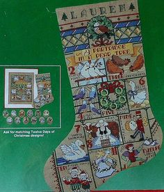 Twelve Days of Christmas Stocking Cross Stitch Kit