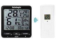 Sainlogic (R) station météo sans fil, intérieur, extérieur Thermomètre de température avec alarme Horloge et calendrier, grand écran LCD…
