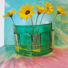 Vitrofusión mesa Florero transparente esmeralda verde por sljglass
