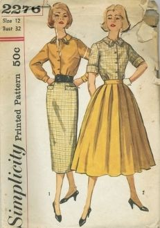 An original ca. 1957 Simplicity Pattern 2276.  Change-about coordinates... match blouse with skirt or combine with contrast skirt. Blouse has set-in sleeves; small pointed collar with button trimmed tab detail; forward shoulder seam. V.1 blouse has long sleeves pleated to buttoned wrist bands; tabs are of skirt fabric. Slim skirt has back kick-pleat and pockets with pointed tab detail and button trim. V.2 blouse has roll-up sleeves. skirt is full and softly pleated all around.