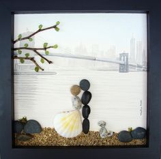Custom made for Stacey to portray her close friend's upcoming wedding at the pebble beach, Brooklyn, New York. Their dog is very important part of their lives. www.etsy.com/shop/MedhaRode