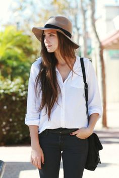 Female silouette: large summer hat and white oversized blouse  Male equivalent?