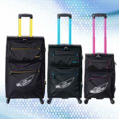 COLECCION LONDON Valijas ultralivianas con 4 ruedas giratorias, bolsillo frontal y detalles de color. http://www.primicia.com.ar