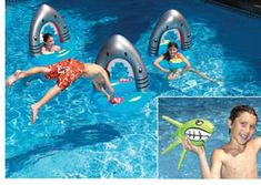 Two fun swimming pool games in one fun pool toy combination. Shark slalom pool toy with three swim through shark jaws and two water weighted squid throw pool toys. Fun Pool Games, Fun Water Games, Summer Games, Pool Fun, Summer Fun, Swimming Pool Parts, Swimming Pool Equipment, Mermaid Pool, Pool Rafts