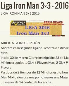 Liga Iron Man 3x3 de Roller Hockey 2016 Anota a tu equipo no te quedes afuera!! #rollehockey #ironman http://ift.tt/1Zb8x0s - http://ift.tt/1HQJd81