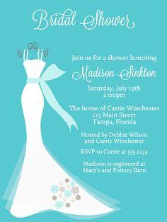 Wedding Dress Bridal Shower Invitations by TheInviteLadyShop