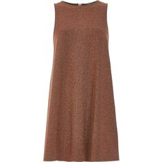 River Island Rust brown sparkly swing dress ($84) ❤ liked on Polyvore featuring dresses, vestidos, brown, swing dresses, women, wet look dress, tall dresses, glamorous swing dress, glamorous dresses and shining dress
