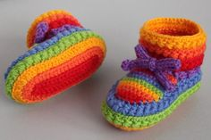 Crocheted rainbow baby booties - now if I only knew how to crochet!