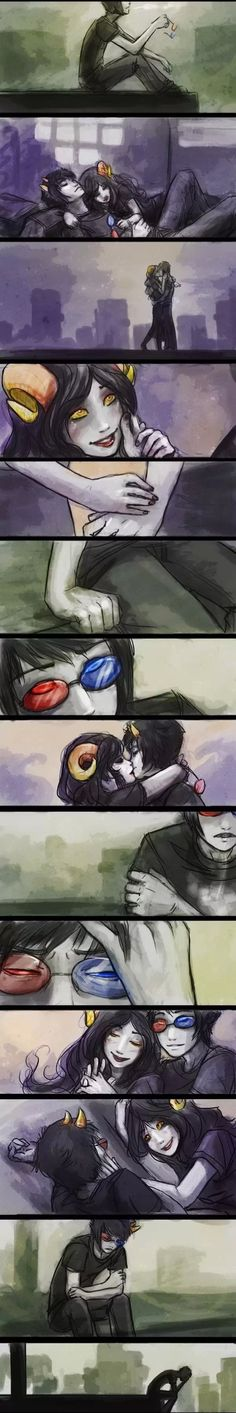 This is so sad and beautiful sollux x aradia forever . So many feels...