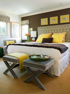 NookAndSea-Bedroom-Modern-Brown-Walls-Paint-Window-Treatment-Geometric-Yellow-Mustard-Stools-Headboard