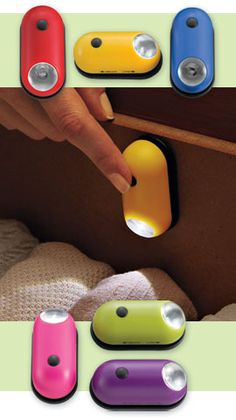Jelly Bean Mini Lights, Push-Button Light for Small Spaces | Solutions 14.98 for a set of three (primary or bright).  Those are cool! I'd want some for the closet that has no lights depending on how bright they are. Things To Buy, Good Things, Stuff To Buy, Cool Stuff, Kid Stuff, Gadgets And Gizmos, Cool Gadgets, Small Space Solutions, Me Gustas