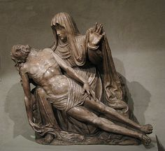 Pietà.  Date:     second quarter 16th century Culture:     Spanish Medium:     Alabaster with traces of original polychromy; base of Portor marble Dimensions:     39 x 59 in. (99.1 x 149.9 cm) Classification:     Sculpture