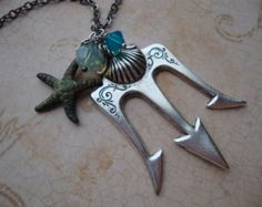 Poseidon - Percy Jackson Lightning Thief Necklace with Antiqued Silver Trident Greek God Sea Mount Olympus
