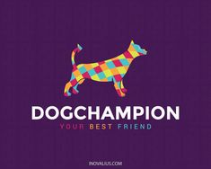 Dog Champion is an abstract logo in the shape of a dog consists of several colorful shapes.(animal, dog, champion, pet shop, pet, dogs, complex, colorful, pet care, pet spa, pet doctor, logo for sale, logo design, logotipo, logo).