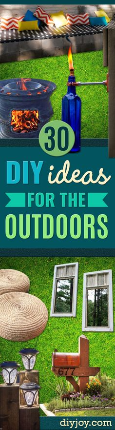 DIY Ideas for the Outdoors - Best Do It Yourself Ideas for Yard Projects, Camping, Patio and Spending Time in Garden and Outdoors - Step by Step Tutorials and Project Ideas for Backyard Fun, Cooking and Seating http://diyjoy.com/diy-ideas-outdoors