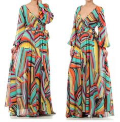 NEW Turquoise Multi Stripe Chiffon Dress in Brown Sugar Collection