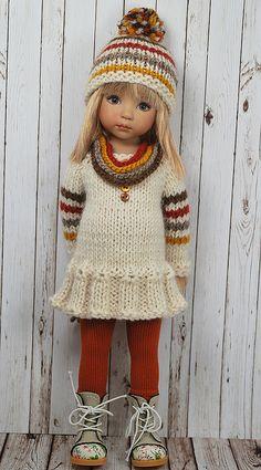 Crochet Patterns Girl f Knitting Dolls Clothes, Baby Doll Clothes, Crochet Doll Clothes, Knitted Dolls, Doll Clothes Patterns, Crochet Dolls, American Doll Clothes, Crochet Doll Pattern, Knit Fashion
