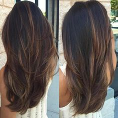Black Hair With Chocolate Balayage Both color and cut.