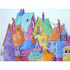 Fantasy Town, Cartoon House, Watercolor Paintings, Watercolours, House Illustration, Happy House, Happy Paintings, House Painting, Quilting Projects