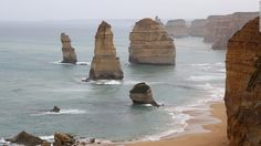 Sunset view at coast of Twelve Apostles by Great Ocean Rd