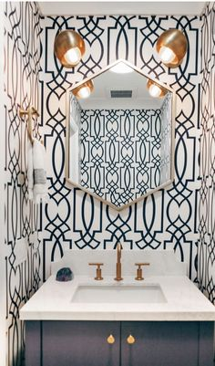 wallpaper in art deco geometric pattern, only on the mirror wall for an accent