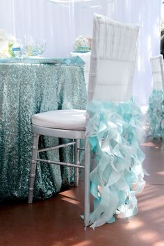 Ruffle light blue chair decor