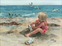 BEACH Girl Children Play 15x11 Watercolor Art by steinwatercolors, $40.00