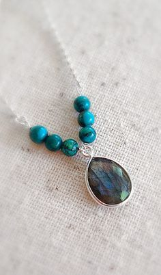 Labradorite Necklace Turquoise necklace Gemstone