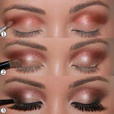 Make-up-Augen-Tuto-Lidschatten-Farbe-Sand-Gold Augen Make-up Maquillage - maquillage naturelle - maq Makeup Up, Makeup For Brown Eyes, Love Makeup, Skin Makeup, Makeup Contouring, Makeup Ideas, Makeup Geek, Pretty Makeup, Makeup Brushes