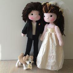 Amigurumi bride , groom and ring bearing dog