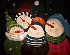 Seasonal snowmen Original Acylic Painting  24x28 by Jillsfineart, $135.00