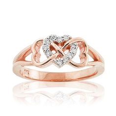 Solid 10k Rose Gold Diamond Triple Heart Infinity Ring (Size 7.5)
