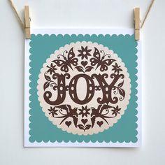 Joy print in green by Alexandra Snowdon, via Flickr