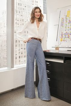 High waisted, wide legged trousers are back!  Soften with a silk blouse.  Oh la la!