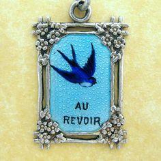 Antique Art Nouveau French Silver Enamel Swallow Forget Me Not Charm Au Revoir #Unbranded
